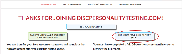 Screenshot showing a blue button that says Get Your Full DISC Report (PDF) circled.