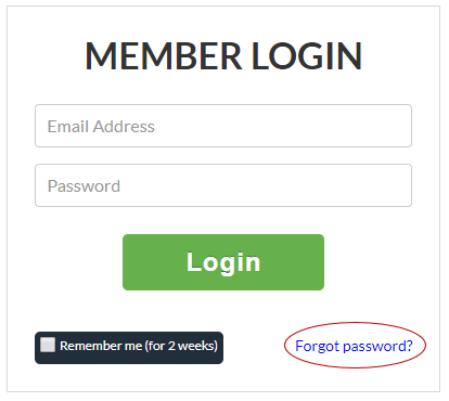 Screenshot showing where to find Forgot Password link