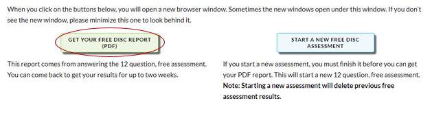 Screenshot showing Get Free DISC Report PDF button circled.