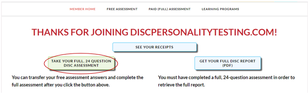 A screenshot showing how to take a full DISC assessment